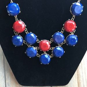 Jewelry - red and blue bib style statement necklace